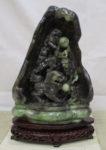 河南玉 獅子 彫刻飾り 高さ約30cm