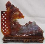 赤瑪瑙 芭蕉 寿老人 彫刻飾り